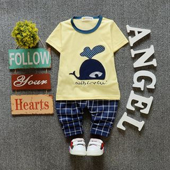 POMME - Kids Set: Cartoon Short-Sleeve T-shirt + Check Harem Pants