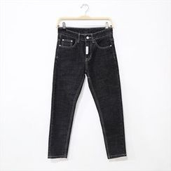 Mr. Cai - Lettering Slim-Fit Jeans