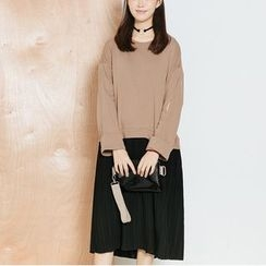 Heynew - Long-Sleeve Mock Two Piece Pleated Dress