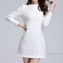 AiLiTi - Crochet Long-Sleeve Shift Dress