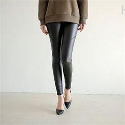 Styleberry - Fleece-Lined Coated Leggings