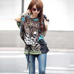Hotprint - Leopard Print Tie-Waist Tunic