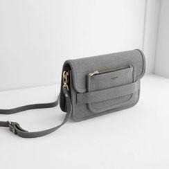 JUSTONE - Slip-Tab Faux-Suede Shoulder Bag