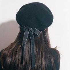 FROME - 饰蝴蝶结饰毛呢贝雷帽