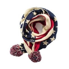 DEARIE - Kids Pompom Star Print Knit Scarf