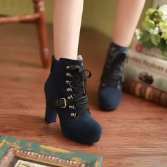 YOUIN - Buckled Lace-Up Ankle Boots