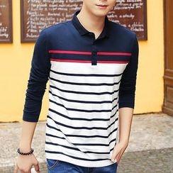 HANDA - Stripe Long-Sleeve Polo Shirt