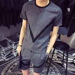 Hansler - Set: Short-Sleeve Contrast-Trim T-Shirt + Shorts