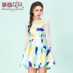Strawberry Flower - Printed 3/4-Sleeve A Line Dress