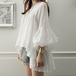 Ashlee - Lantern Sleeve V-Neck Chiffon Blouse