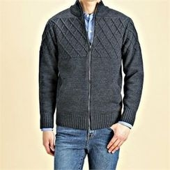 THE COVER - Mock-Neck Cable-Knit Zip-Up Cardigan