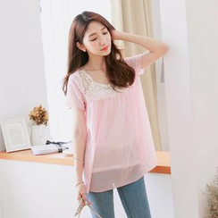 Tokyo Fashion - Short-Sleeve Lace-Panel Top with Camisole Top