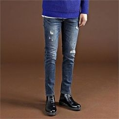 THE COVER - Fleece-Lined Distressed Jeans