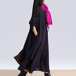 chic n' fab - Mock Two-Piece Tab-Sleeve Maxi Dress