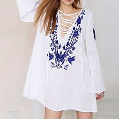 Sunset Hours - Embroidered Lace-Up Tunic