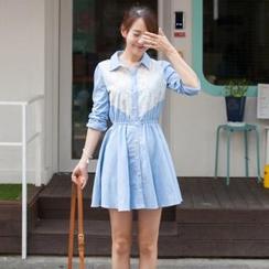 2fb Lace Inset Chambray Shirtdress