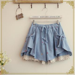 Fairyland - Diamond Embroidered Lace Trim Shorts