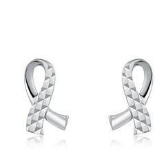 MaBelle - 14K White Gold Dainty Ribbon Diamond-Cut Earrings