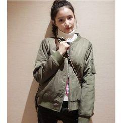 Oaksa - 拉链装饰纯色飞行员夹克