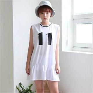 Cocopop - Sleeveless Ruffle-Hem Numbering Dress