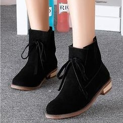 Mancienne - Genuine Leather Lace-Up Ankle Boots