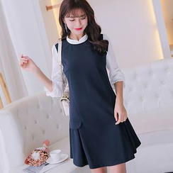 Bornite - Long-Sleeve Knit Ruffle Dress