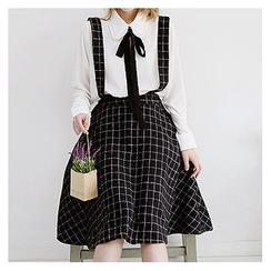 Sechuna - Detachable Suspender Check A-Line Skirt