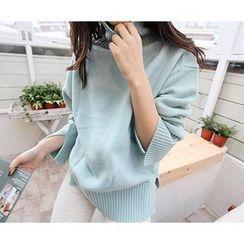 MARSHMALLOW - Turtle-Neck Slit-Detail Knit Sweater