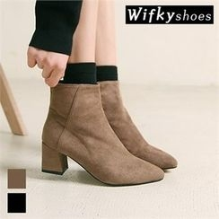 Wifky - Faux-Suede Pointy Ankle Boots