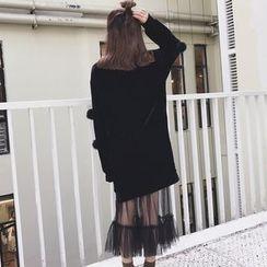 Zzang Girls - Set: Pompom Velvet Pullover Dress + Midi Mesh Skirt