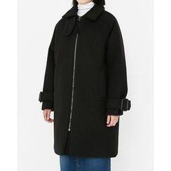 Someday, if - Funnel-Neck Raglan-Sleeve Zip-Up Coat