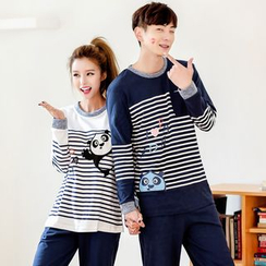SHIRLEY - 情侶款家居服套裝: 卡通套衫 + 褲