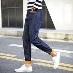 UTAN - Fleece-Lined Straight-Leg Jeans