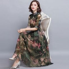 chic n' fab - Floral Print Elbow-Sleeve Midi Chiffon Dress