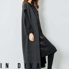 FASHION DIVA - Open-Front Wool Blend Long Knit Vest