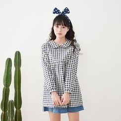 Storyland - Long-Sleeve Check Empire Blouse