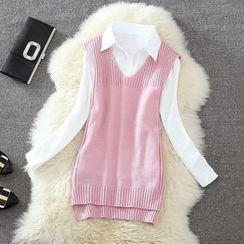Clementine - 純色針織馬甲 / 套裝: 針織馬甲 + 純色襯衫