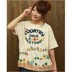 Cute Colors - Loose-Fit Appliqué Printed T-Shirt