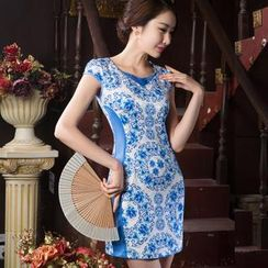 Miss Four Qipao - Color Block Short Sleeve Cheongsam