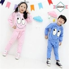 nanakids - Kids Set: Round-Neck Printed Pullover + Sweatpants