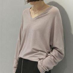 Oaksa - V领宽松长袖T恤
