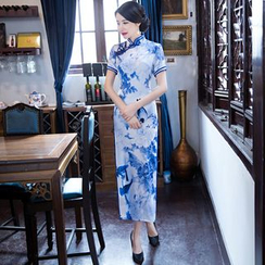Montebelle - Print Short Sleeve Maxi Cheongsam