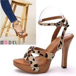 MODELSIS - Genuine Leather Platform Pumps