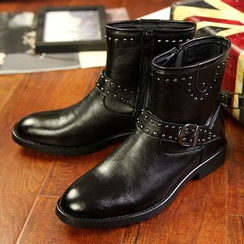 Preppy Boys - Studded Buckled Ankle Boots