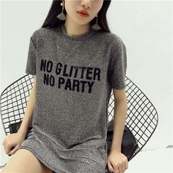 Octavia - Lettering Glitter Short-Sleeve T-Shirt