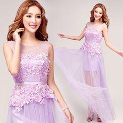 Angel Bridal - Sleeveless Applique Sheath Evening Gown
