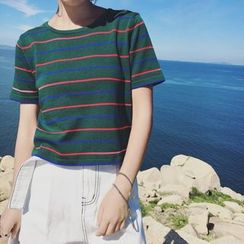Jolly Club - Short-Sleeve Striped Knit T-Shirt