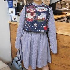 Miss Kekeli - Set : Stripe Long-Sleeve Dress + Embroidered Vest