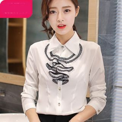 Eferu - Ruffle Long-Sleeve Chiffon Blouse