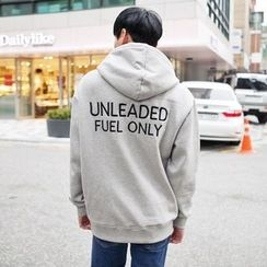 TOMONARI - Hooded Lettering Brushed-Fleece Lined Pullover